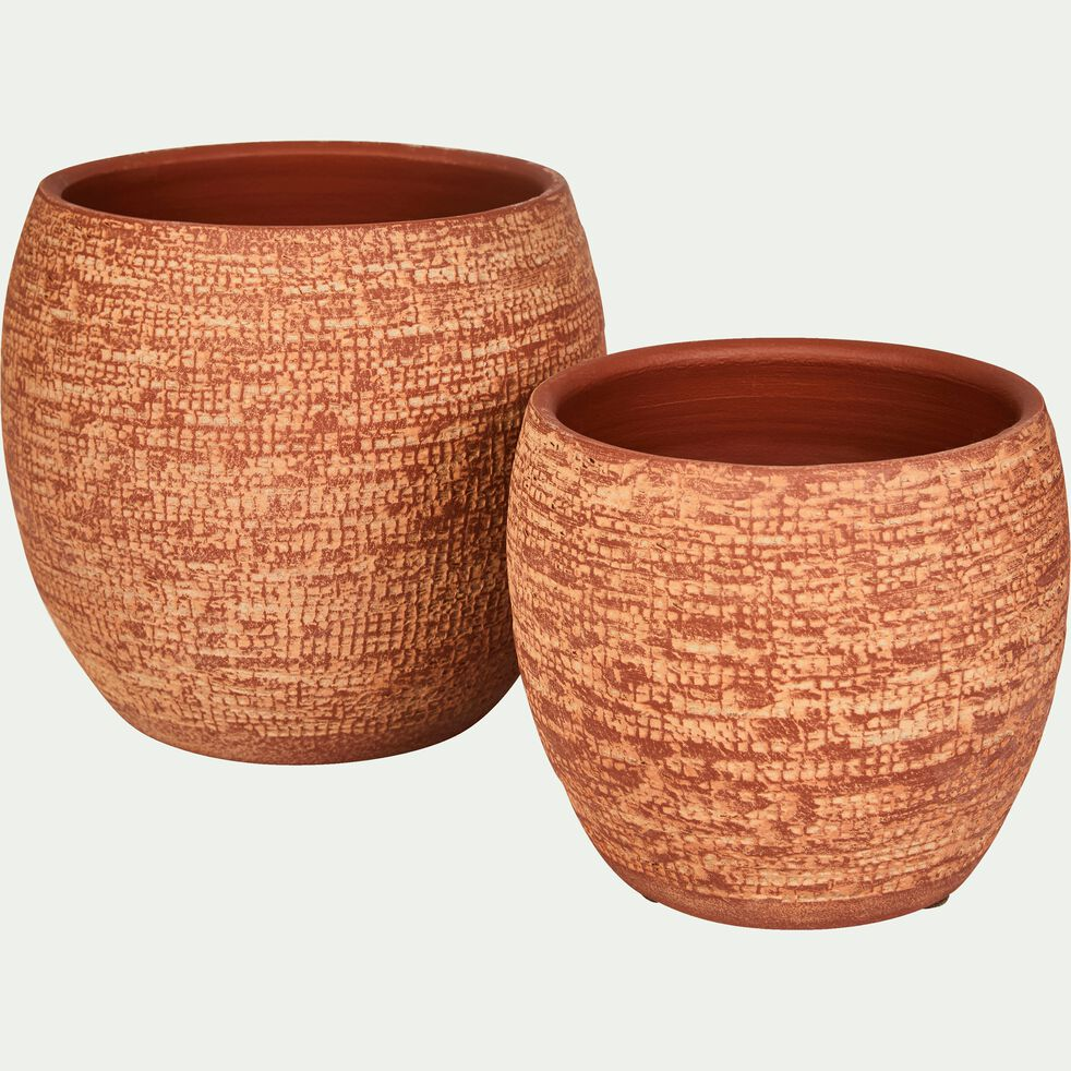 Cache-pot en terre cuite orange brique D15 cm-Essaouira