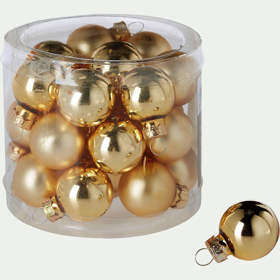 24 mini boules de Noël en verre doré D2,5cm-Nive