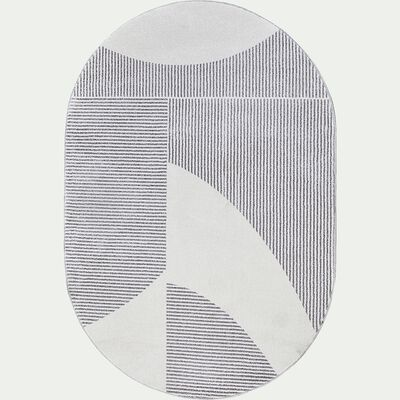 Tapis ovale à motif géométrique - beige et gris 160x230cm-FLORE