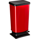 Poubelle à pédale effet métal rouge 40L-PASO
