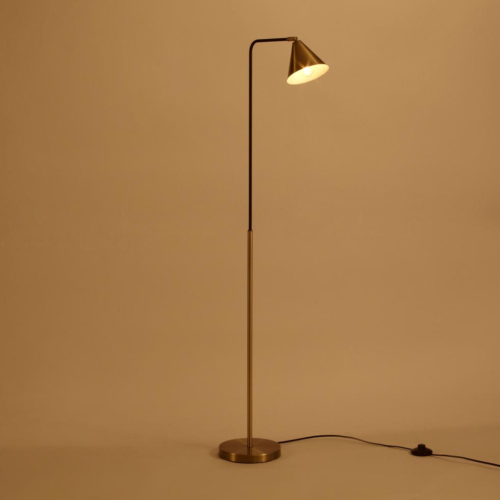 Lampadaire en métal noir et doré H132cm-JORDA