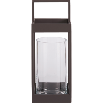 Lanterne en verre et métal H50x18cm-Olonne