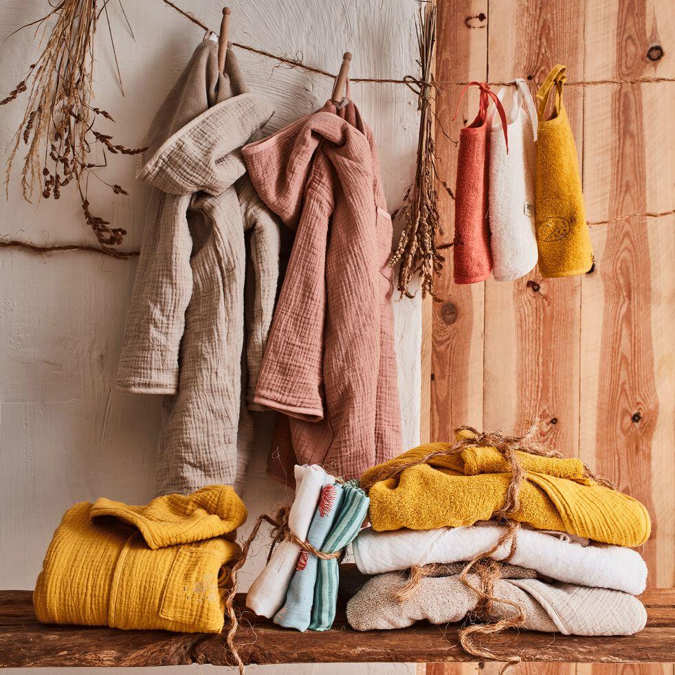 Peignoir enfant 4 à 6 ans en coton bio avec broderie lurex - beige alpilles-Nuage