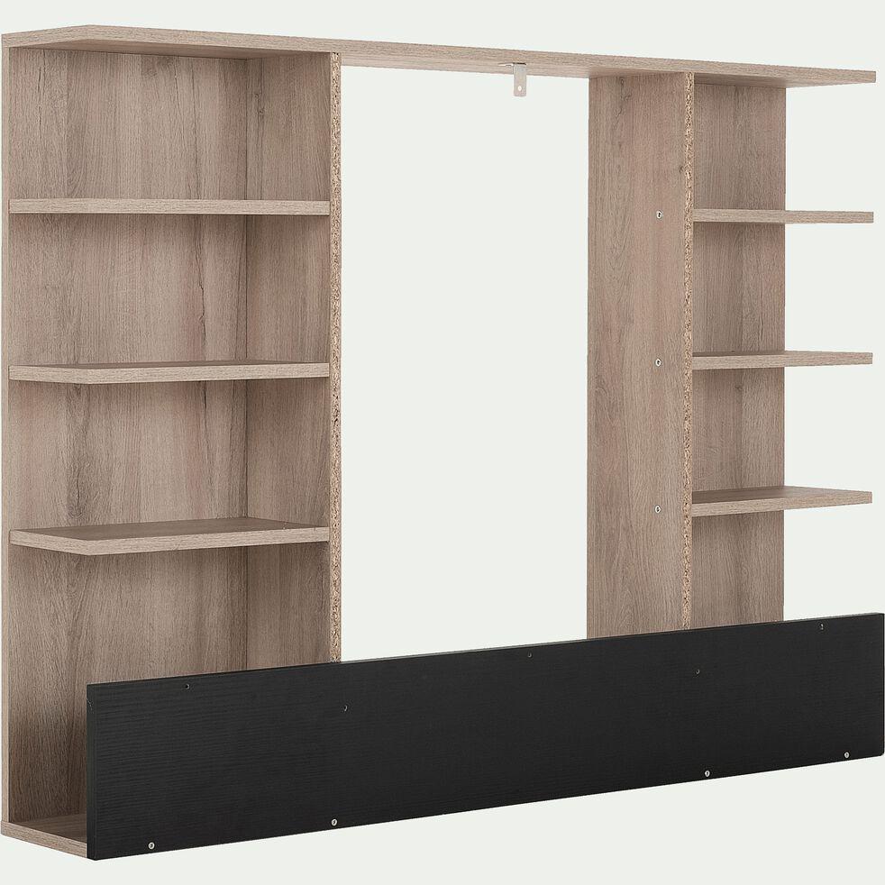 Tête de lit avec rangements en bois pour lit Castel 120x200cm - effet chêne clair-CASTEL