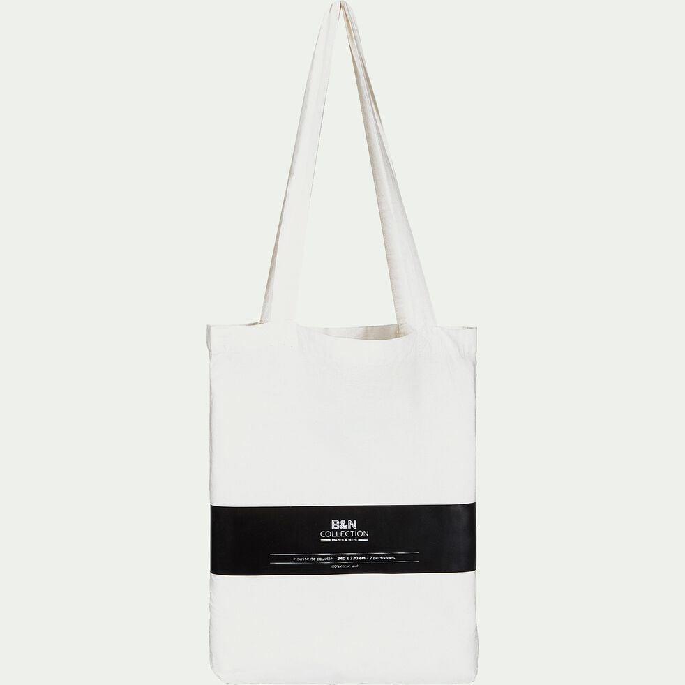 Housse de couette brodée en coton lavé - blanc ventoux 260x240cm-GALLIA