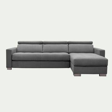 Canapé 4 places fixe en tissu microfibre avec angle reversible et accoudoir 15cm - gris-MAURO