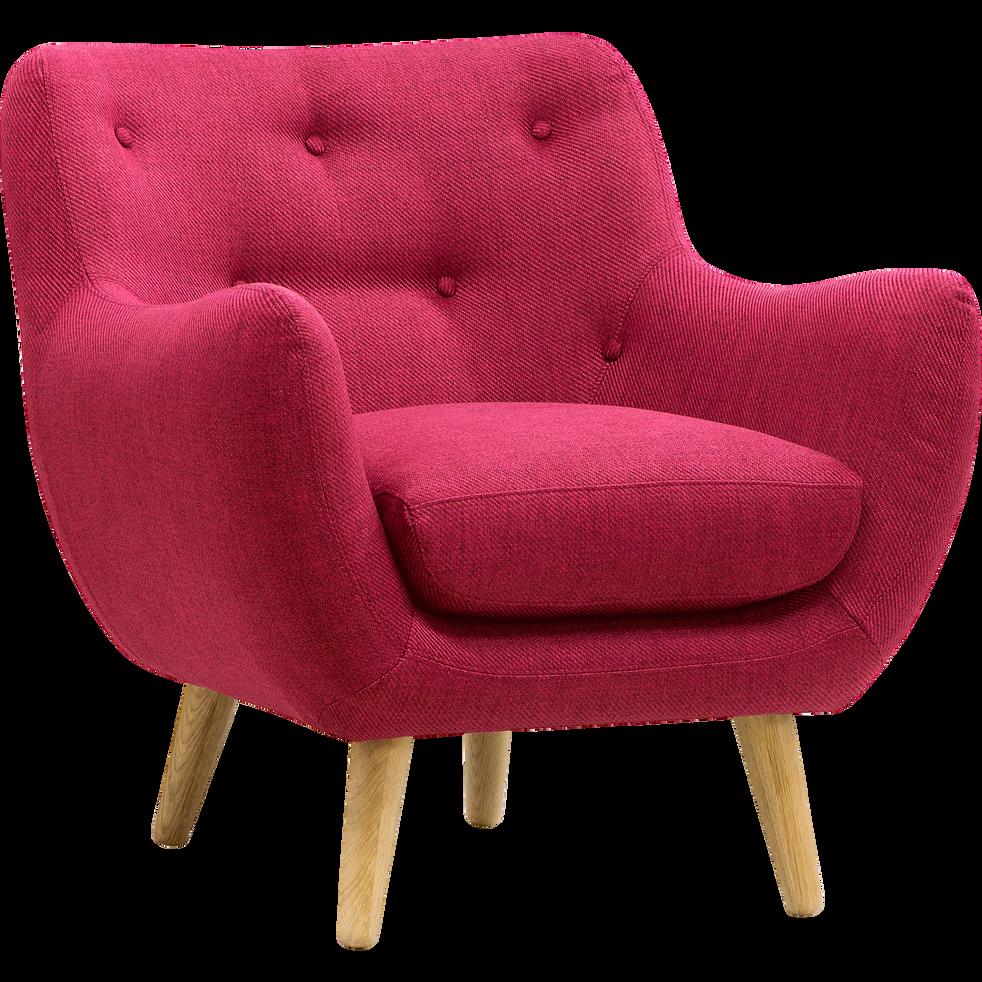 Fauteuil en tissu framboise - Poppy - fauteuils et poufs - alinea