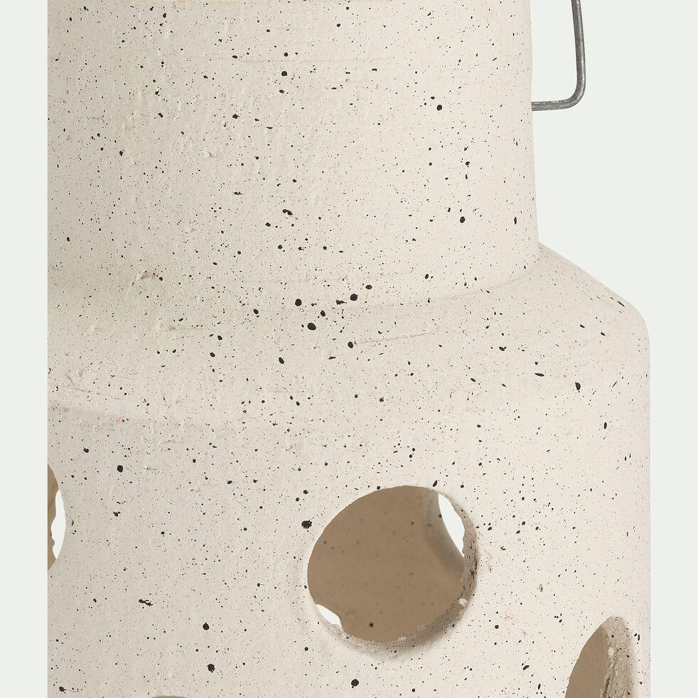 Lanterne ajourée en terre cuite - blanc H35cm-VEZZANI