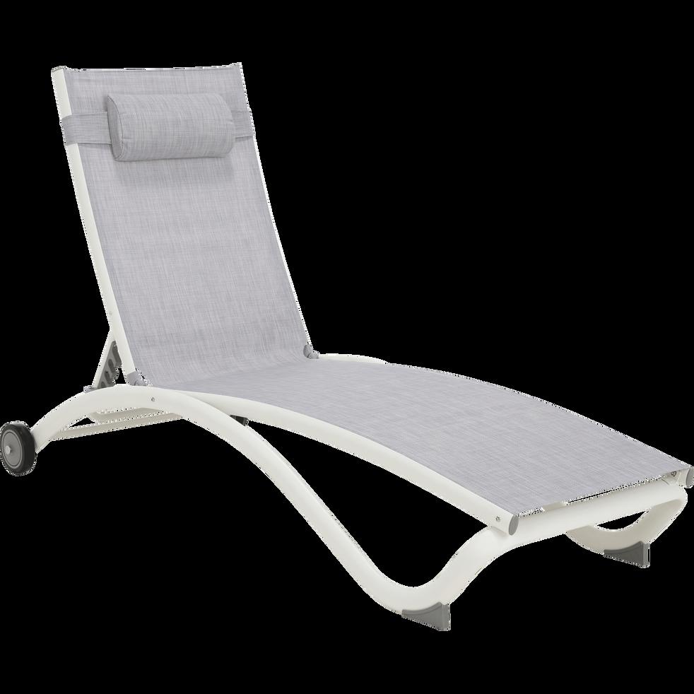 Bain de soleil en aluminium et textilène gris-LECCO