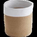 Panier de rangement blanc et beige D31xH37cm (grand modèle)-DAYO
