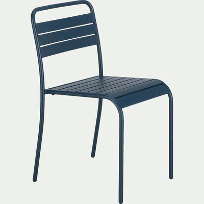 Chaise de jardin empilable en acier - bleu figuerolles-Souris