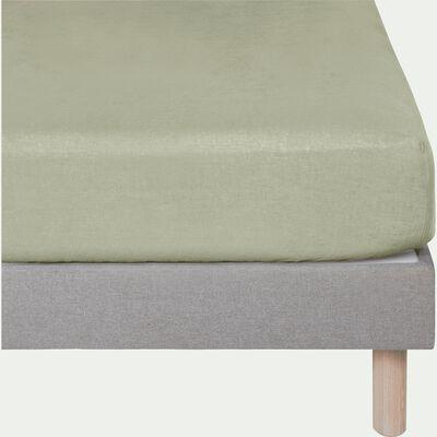 Drap housse en lin Vert olivier 160x200cm bonnet 28cm-VENCE