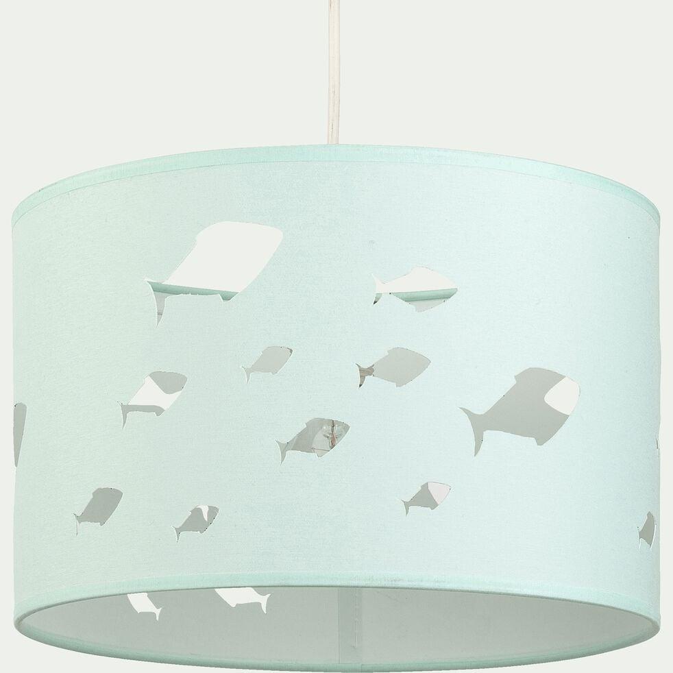 Abat-jour avec découpe motif poissons d35cm - vert olivier-Onde
