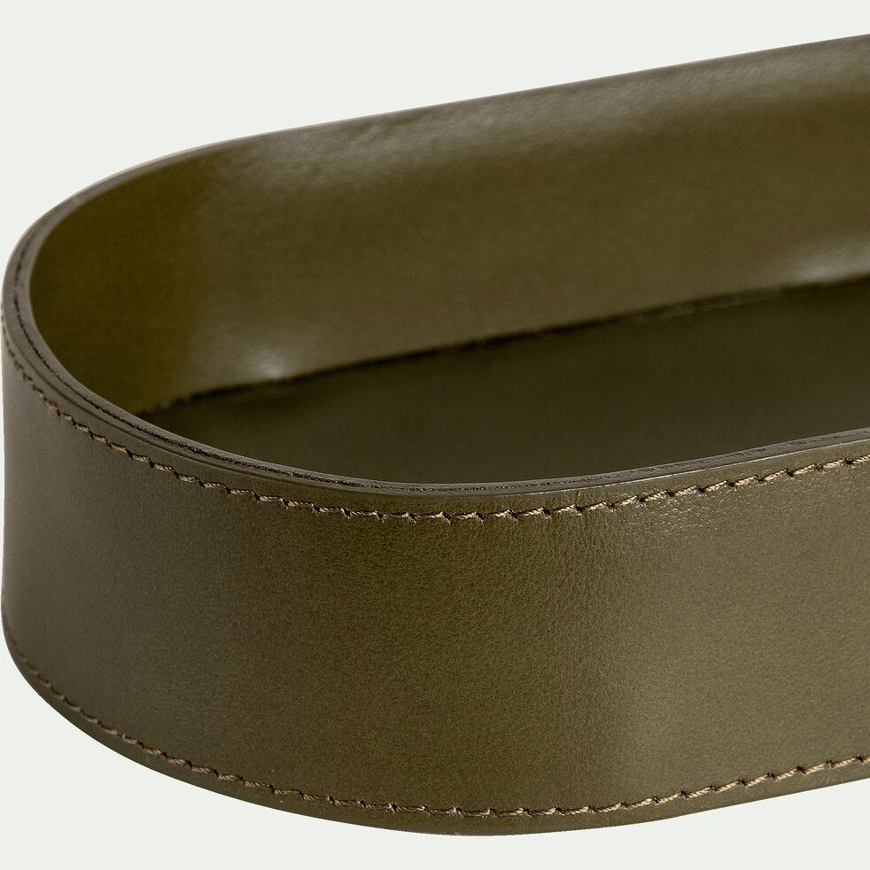 Vide-poche en cuir - vert 14x38cm-EUGENIE