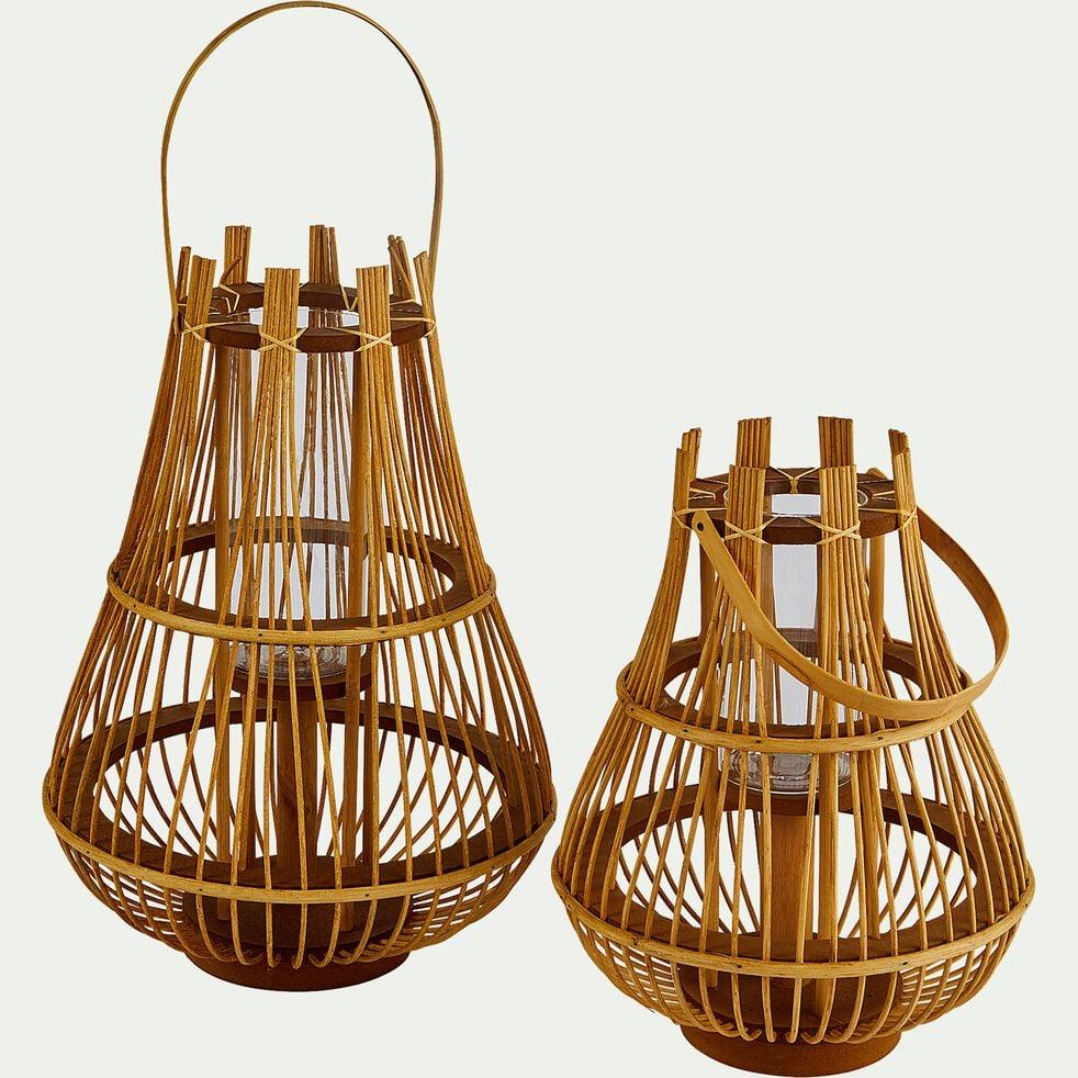 Lanterne en pin et rotin - naturel D25,5xH33,5cm-PETRA