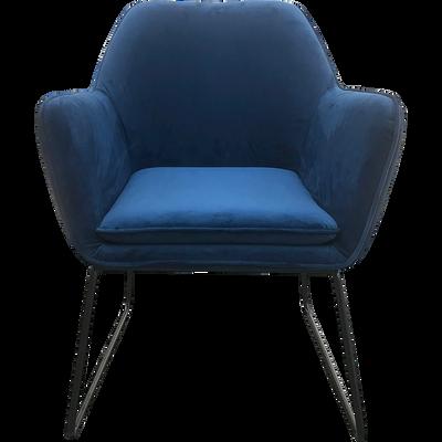 Fauteuil en velours bleu myrte-LOU