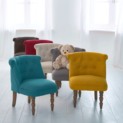 Petit fauteuil en tissu style crapaud jaune moutarde-MINI CHANTE