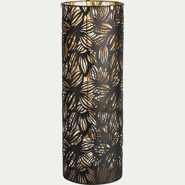 Photophore en métal ajouré - noir et doré D21,5xH60cm-NOUA