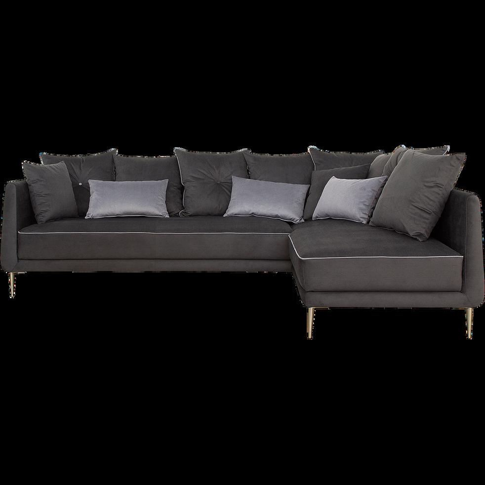 canap d 39 angle fixe droit en tissu noir calabrun astello. Black Bedroom Furniture Sets. Home Design Ideas