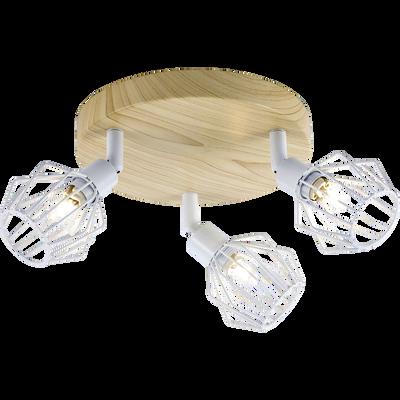 Plafonnier de 3 spots en métal filaire blanc et décor bois-NORIS