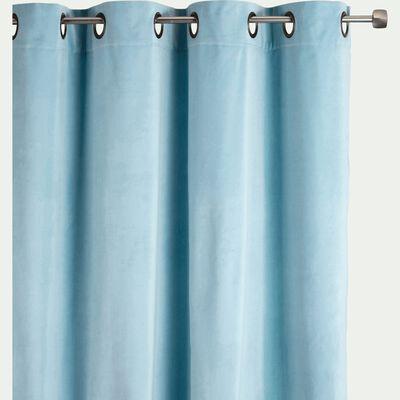 Rideau à œillets en velours - bleu 140x250cm-EDEN