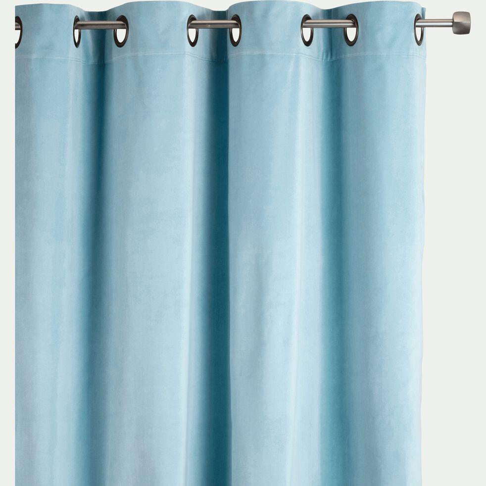 Rideau à oeillets en velours bleu 140x250cm-EDEN