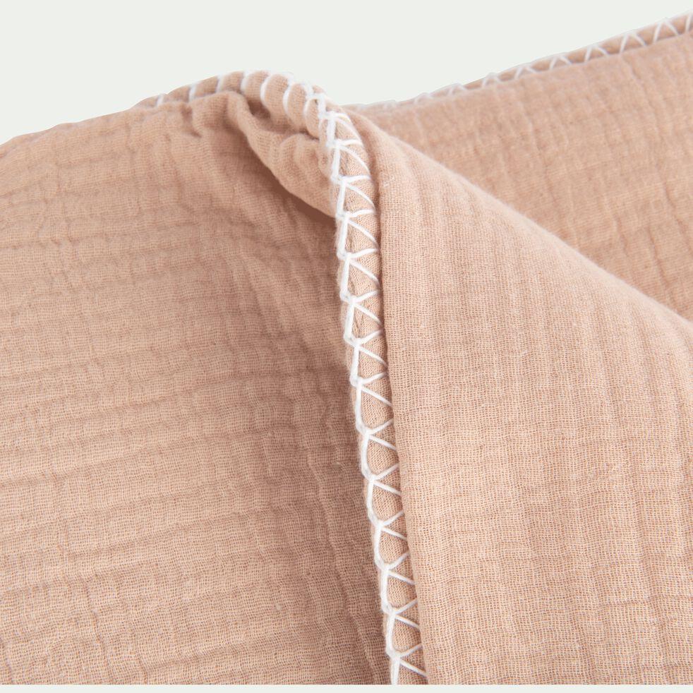 Plaid en gaze de coton 100x150 cm - Rose argile-AZALEE
