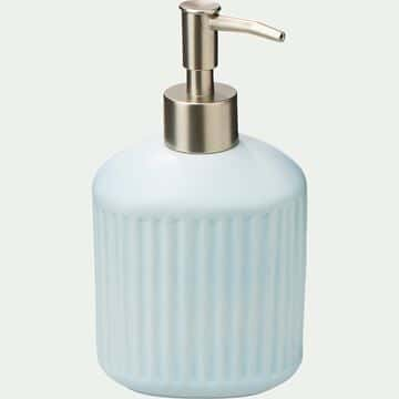 Distributeur de savon en céramique striée - bleu amandier-NANS