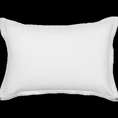 Lot de 2 taies d'oreiller en satin Blanc capelan rayé - 50x70 cm-SANTIS