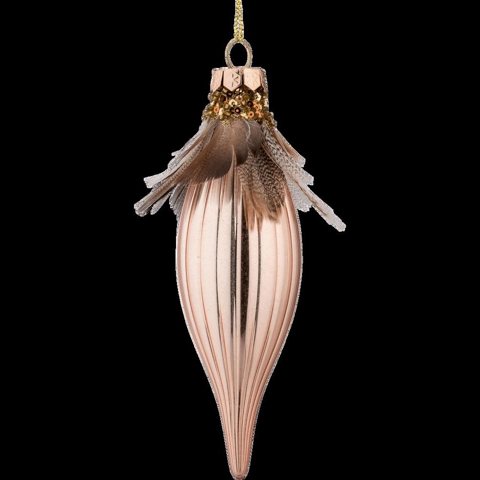 Décoration à suspendre en verre rose H15cm-MONG