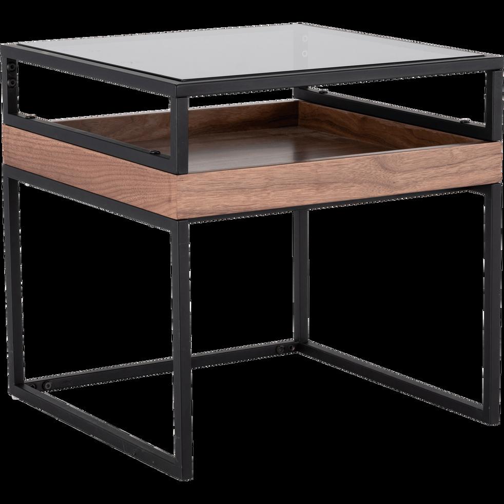bout de canap plaqu noyer avec plateau en verre esperancio bouts de canap alinea. Black Bedroom Furniture Sets. Home Design Ideas