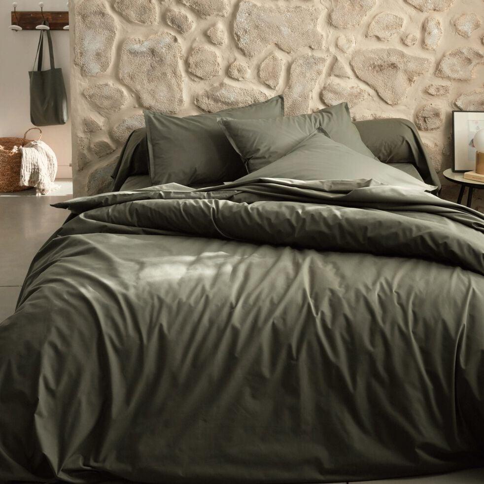 Linge de lit en  percale vert cèdre-FLORE