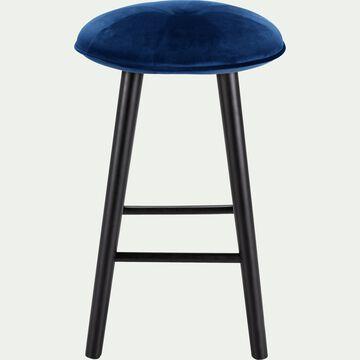 Tabouret de bar en velours bleu myrte - H66cm-AUGUSTIN