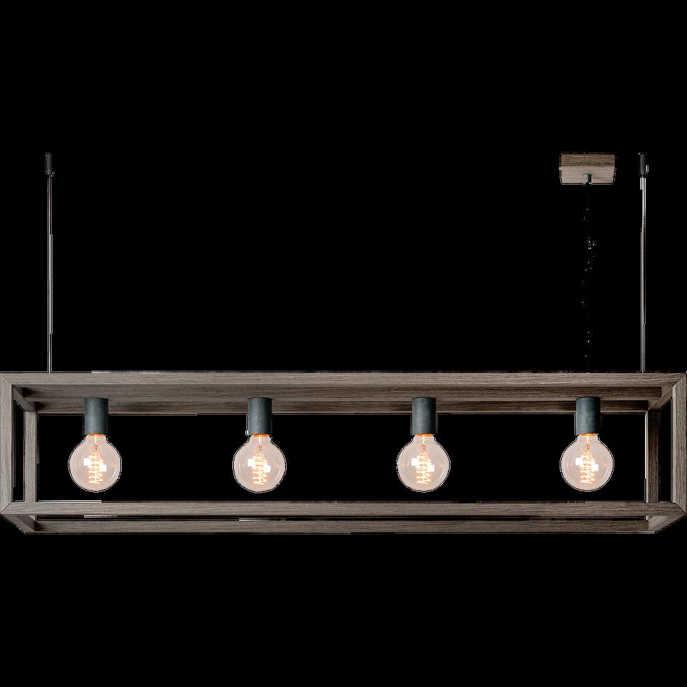 Suspension en métal placage bois gris à 4 lumières L120cm-ORIS