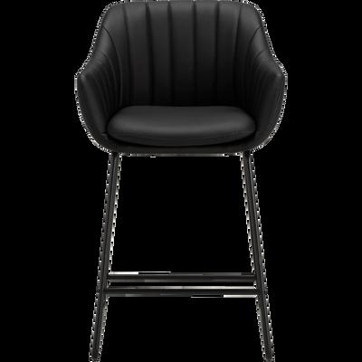 Chaise haute en cuir noir-OLBIA