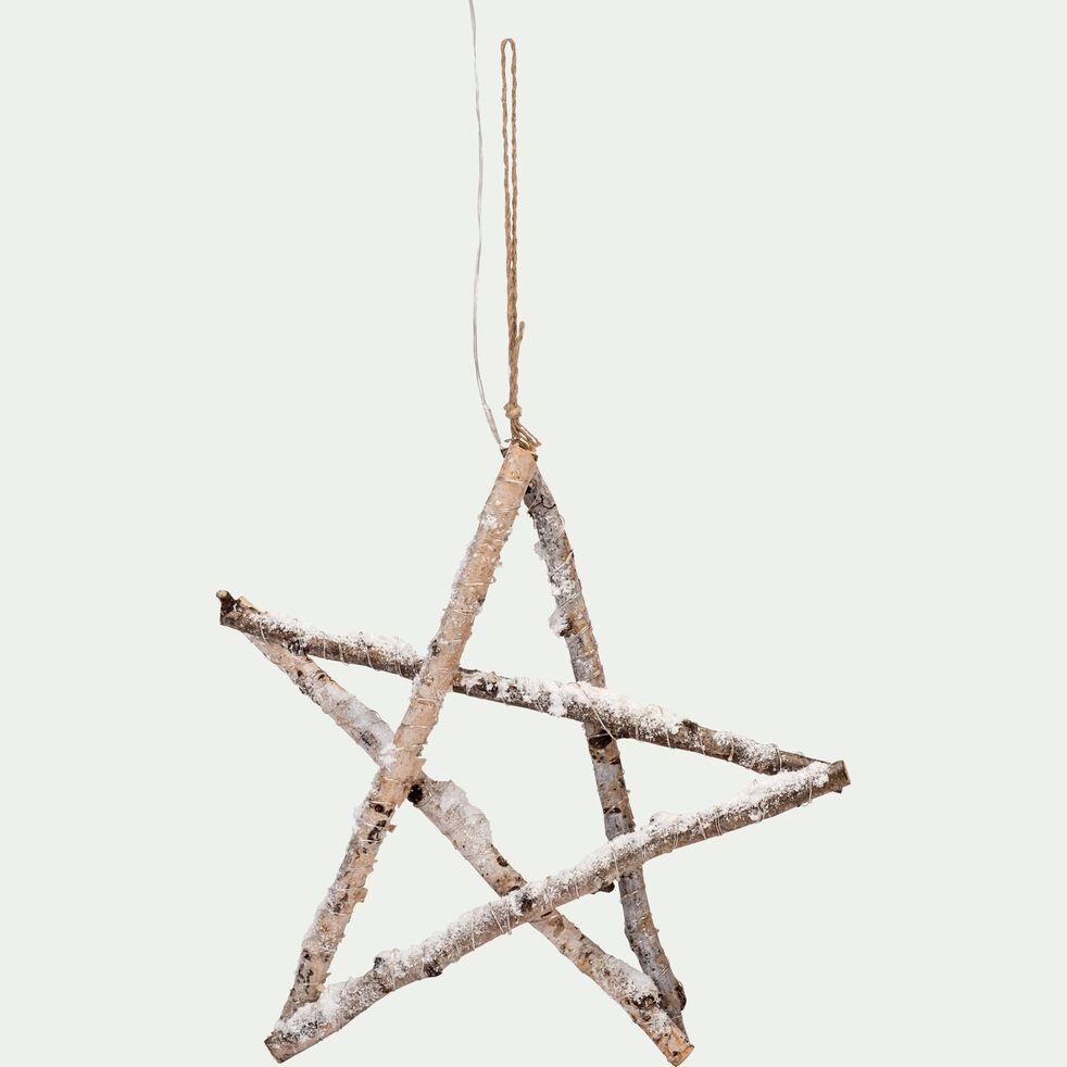 Étoile en bouleau avec LED H40cm-BEJAIA