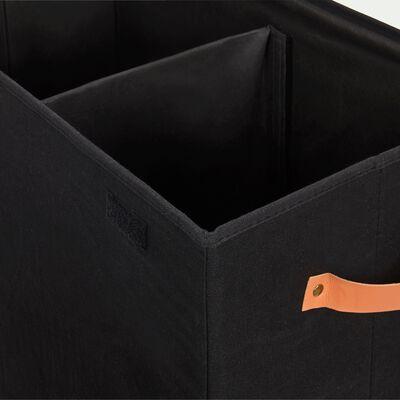 Panier à linge double en polycoton - noir H60xL50cm-ERRO