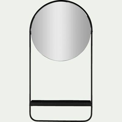 Miroir mural avec tablette - noir H58cm-IRIADE