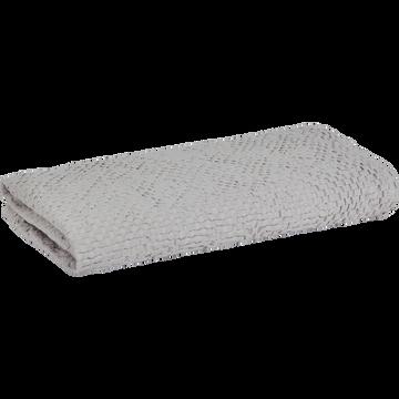 Drap de douche gris borie en coton nid d'abeille-CLEMATIS