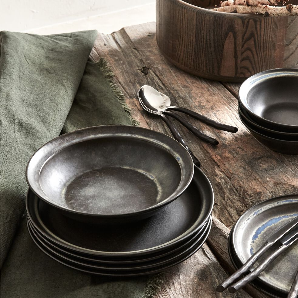 Assiette creuse en porcelaine D21,5cm - noir-FERRU