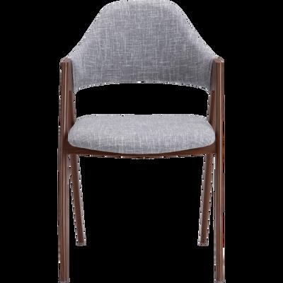 Chaise En Tissu Gris Clair Pitement Bois Fonc GONZAGUE