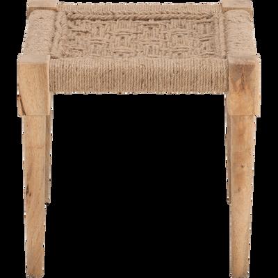Pouf en bois carré 40x40cm beige roucas-AGNEL