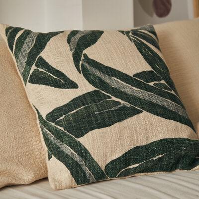 Housse de coussin motif agave en coton - blanc 45x45cm-AGAVA