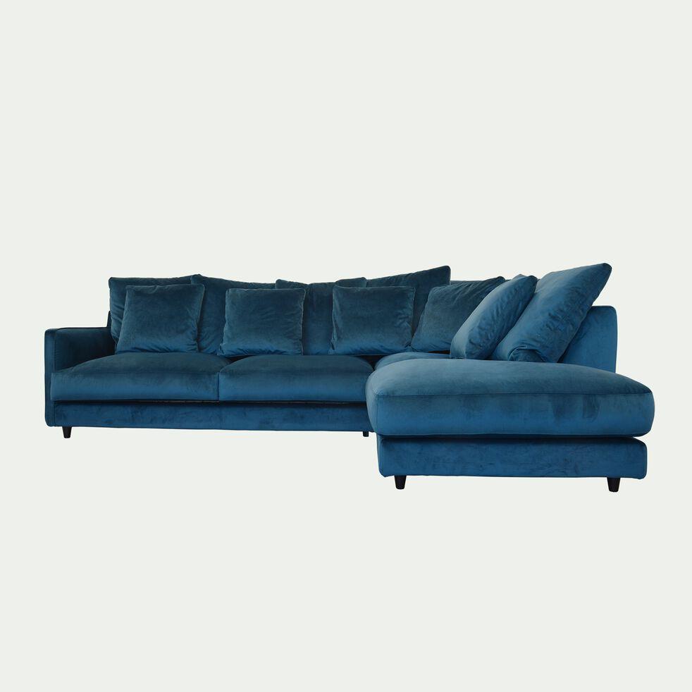 Canapé d'angle droit convertible en velours - bleu figuerolles-LENITA