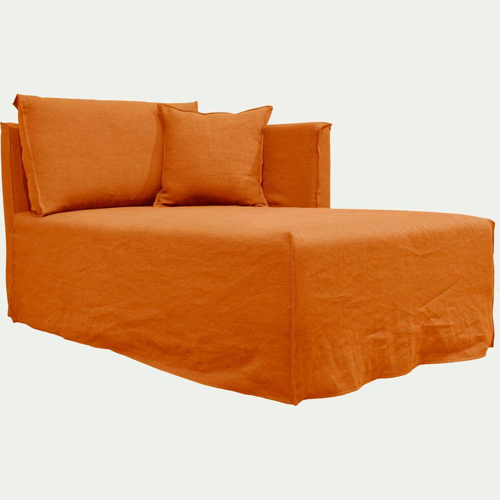 Méridienne droite en lin orange rustrel-VENCE