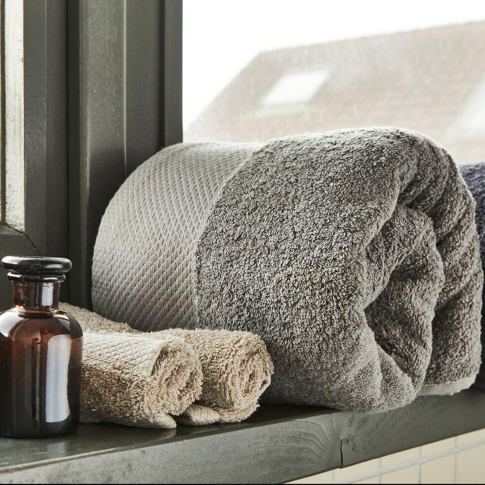 Drap de douche en coton peigné - gris restanque 70x140cm-AZUR