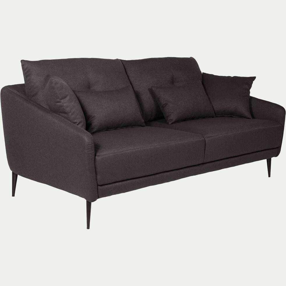 Canapé 3 places fixe en tissu - gris restanque-DOME