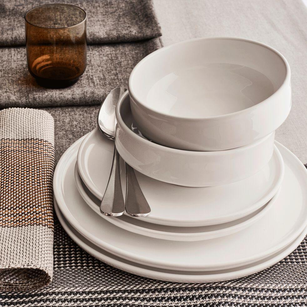 Coffret de vaisselle 12 pièces en faïence blanc-VADIM