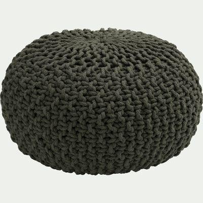 Pouf en coton tressé vert cèdre 50x50x30cm-CESAR