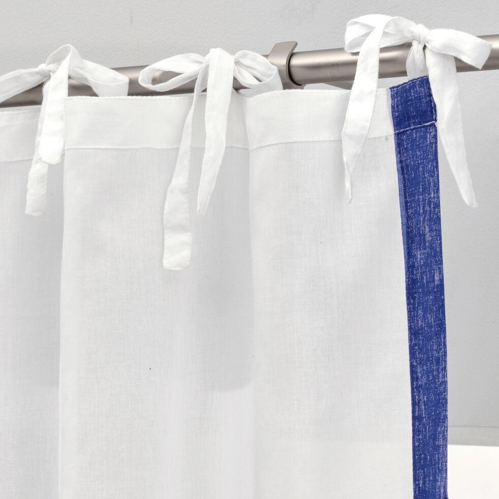 Voilage à nouettes en coton sérigraphié - blanc 140x250cm-EVORA